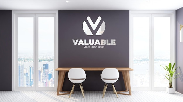 Logo mockup-werkruimte met uitzicht op de lucht