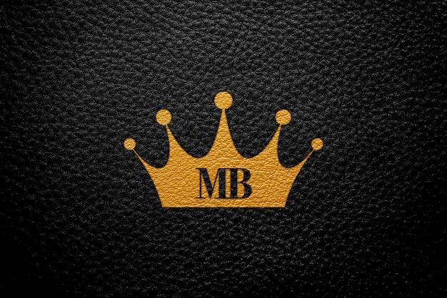 Logo mockup zwart leer
