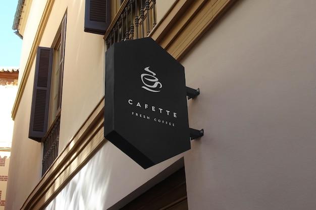 Logo mockup zwart zeshoekig teken