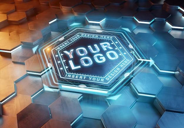 Logo op futuristisch zeshoekig voetstukmodel