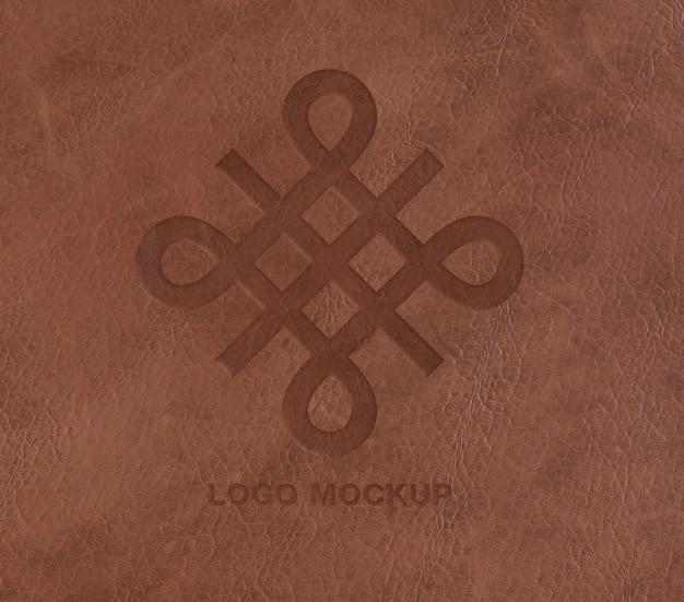 Logo op lederen mockup
