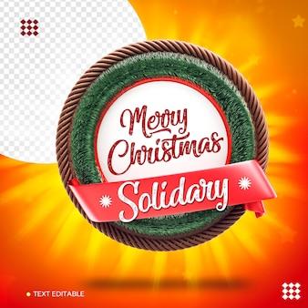 Logo render kerstsolidariteit met lint en houten krans geïsoleerd