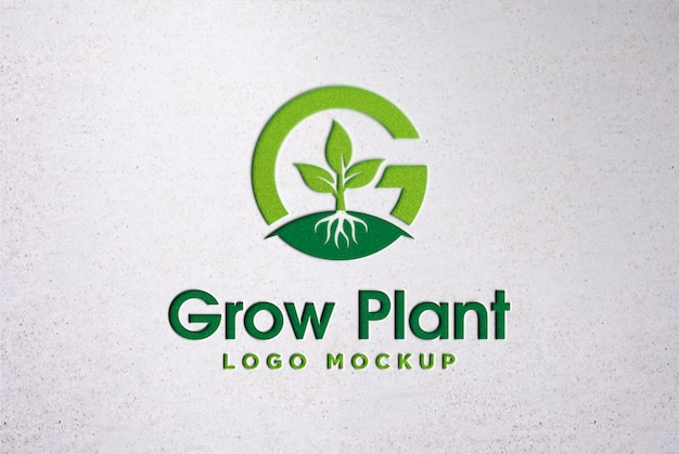 Logo stampato mockup su muro di cemento