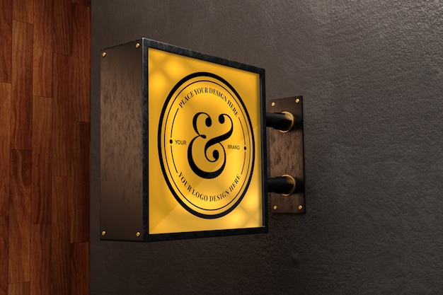 Logo teken mockup op exterieur gebouw