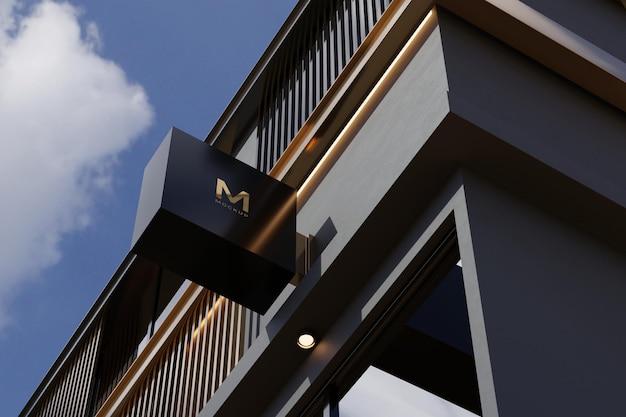Logo teken mockup rechthoek bewegwijzering vak op gevel van kantoorgebouw
