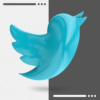 Logo van twitter in 3d-rendering