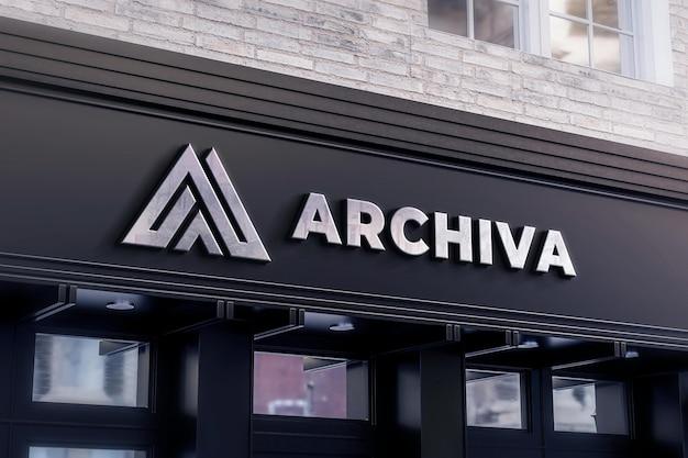 Logo winkel bord mockup zwarte winkel realistisch