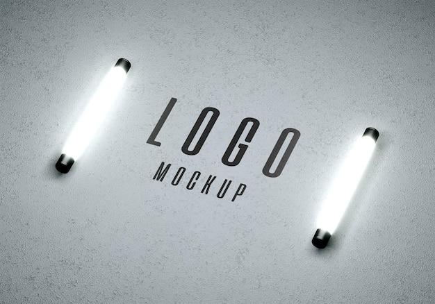 Logomodel met lampjes op beton