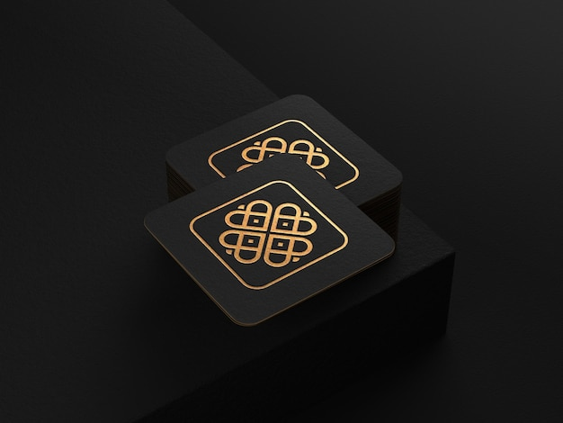 Logomodel op vierkant gestapeld visitekaartje