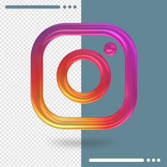 Logotipo 3d de instagram en renderizado 3d