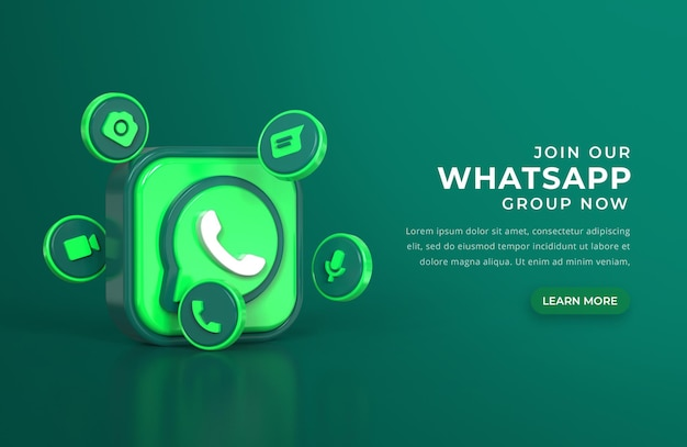 Logotipo 3d de whatsapp con iconos de chat