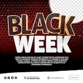 Logotipo de blackweek 3d para composición