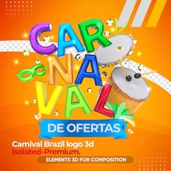 Logotipo de carnaval 3d con instrumentos en renderizado 3d