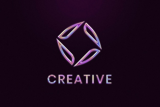 Logotipo de empresa de cromo editable psd en estilo en relieve