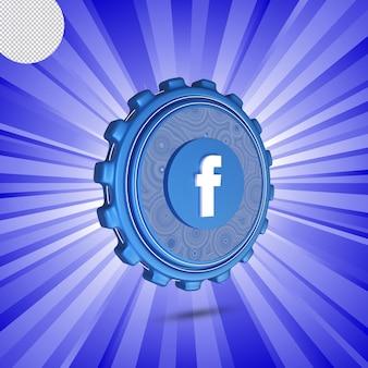 Logotipo de facebook brillante aislado diseño 3d