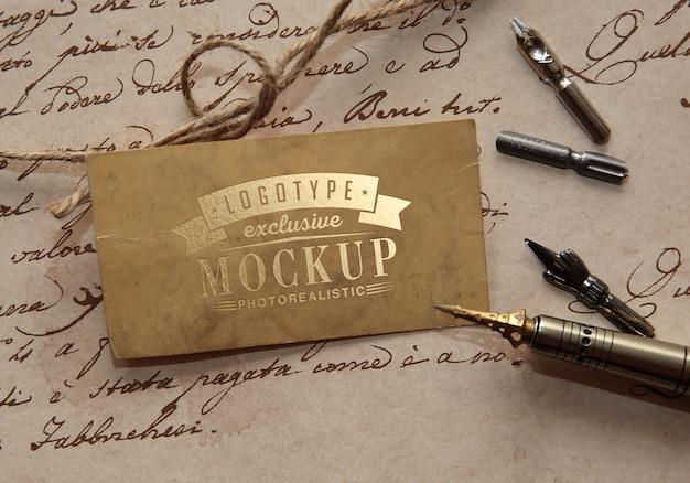 Logotipo fotorrealista maqueta en estilo vintage
