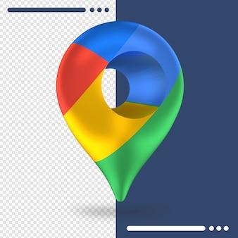 Logotipo de google maps girado en 3d en representación 3d