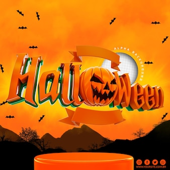 Logotipo de halloween 3d para composición