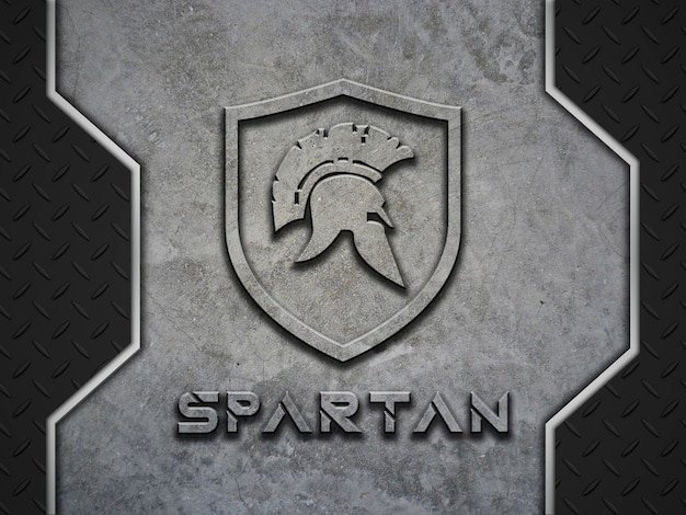 Logotipo de hormigón y algunas puertas metálicas