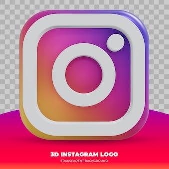 Logotipo de instagram aislado en representación 3d