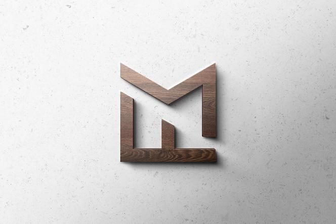 Logotipo maqueta 3d madera