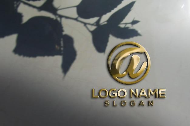 Logotipo de maqueta 3d de pared de oficina