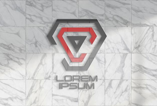 Logotipo en maqueta de pared de oficina de mármol
