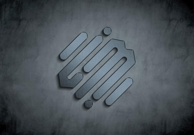 Logotipo de metal 3d en maqueta de muro de hormigón