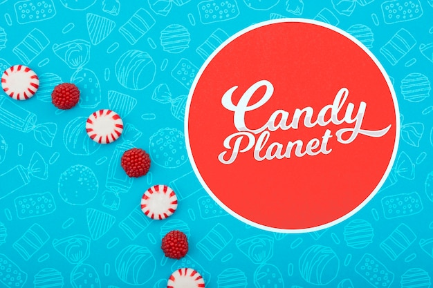 Logotipo minimalista de candy planet shop