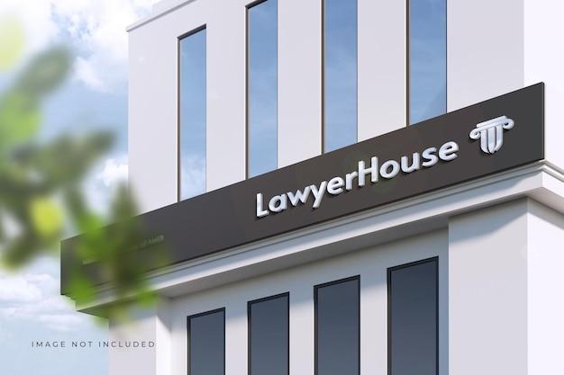 Logotipo en perspectiva en un edificio moderno - maqueta de letrero