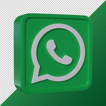 Logotipo de redes sociales en forma cuadrada 3d transparente de whatsapp