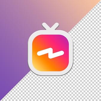 Logotipo de redes sociales de instagaram igtv aislado 3d