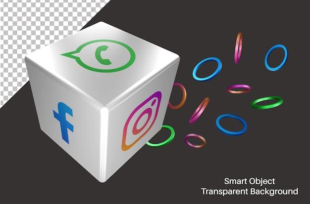Logotipo de redes sociales de whatsapp al azar en dados 3d