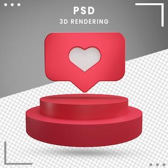 Logotipo rojo girado 3d love instagram