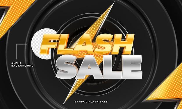 Logotipo de venta flash 3d con fondo circular y relámpagos en representación 3d