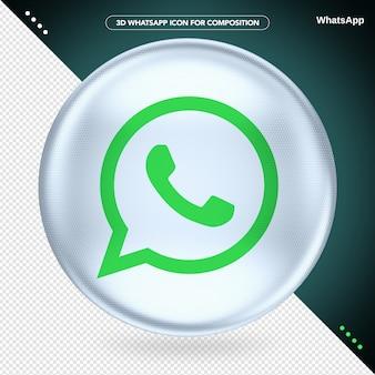 Logotipo de whatsapp 3d ellipse white