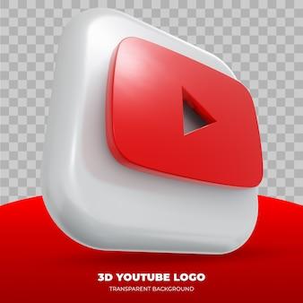 Logotipo de youtube aislado en representación 3d