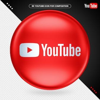 Logotipo de youtube de elipse roja 3d