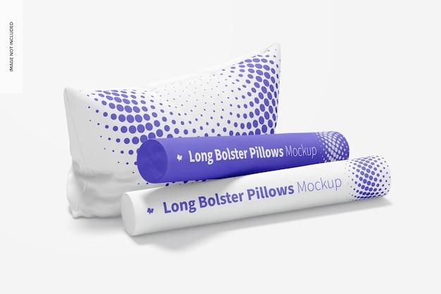 Long bolster pillows mockup, perspectief