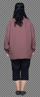 Longitud total de 60s 70s camisa púrpura de pelo negro de mujer asiática mayor, soporte y grasa inteligente, aislado. abuela senior de pie y gira la parte delantera trasera vista posterior sobre fondo blanco aislado