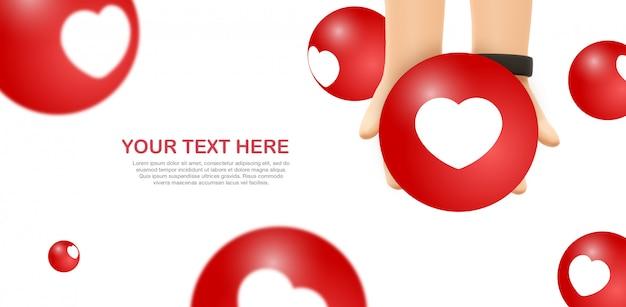 Love emoji mockup - handen houden gele facebook emoticon
