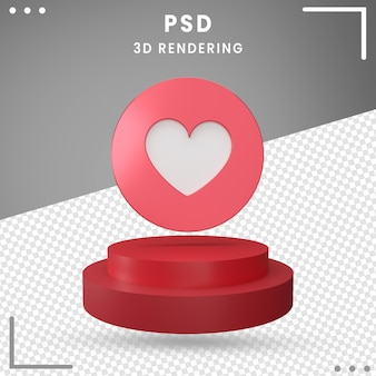 Love icon 3d gedraaid logo facebook 3d-rendering