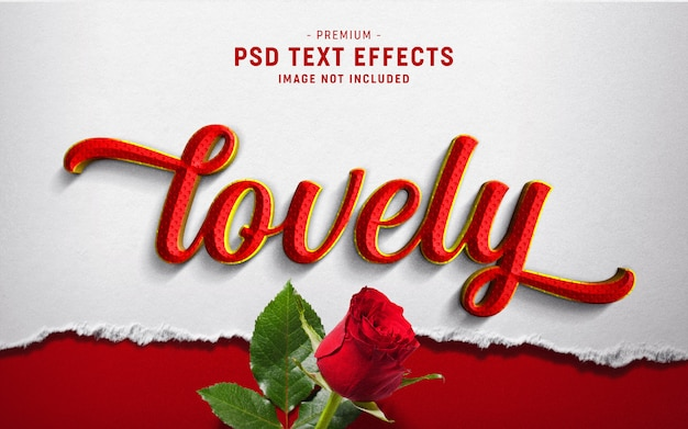 Lovely valentine text style effect su carta strappata bianca