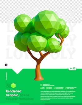 Low poly tree 3d-rendering afbeelding