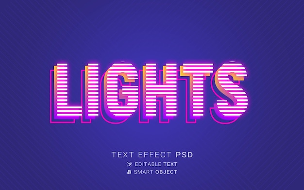 Luces efecto de texto neón