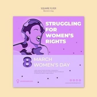 Luchando por los derechos flyer cuadrado del día de la mujer