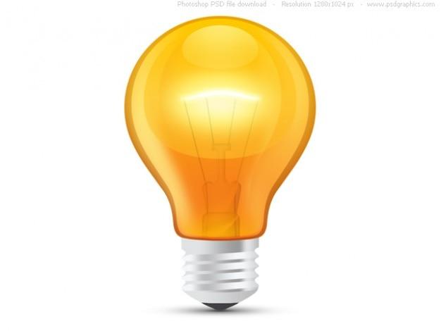 Lucido lampadina arancione (psd)