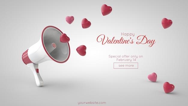 Luidspreker en vliegende rode harten. valentijnsdag verkoop en speciale aanbieding.