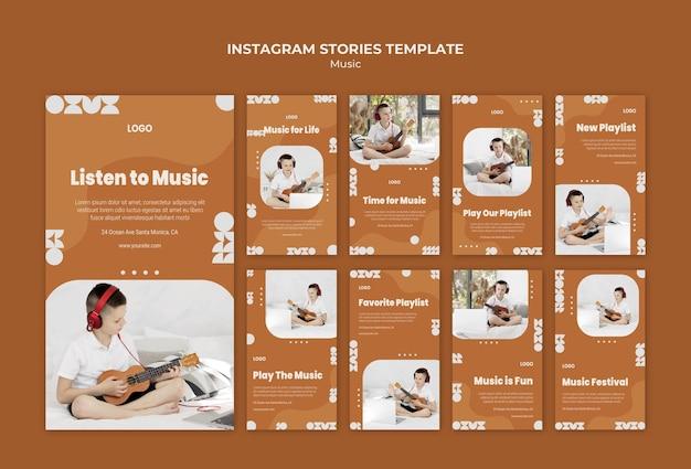 Luister naar muziek en speel ukulele instagram-verhalen