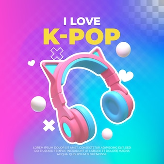 Luisteren naar k-popmuziek. 3d illustratie